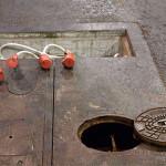 Strom- und Wasseranschluss in der Messehalle